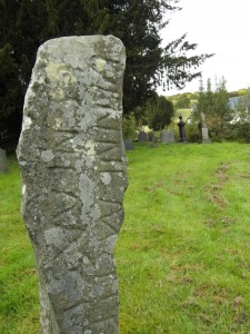 Inscribed stone at Gwytherin