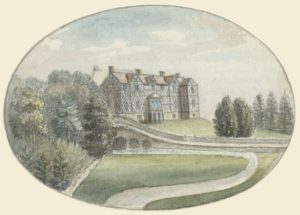 Watercolour of Pitchford house.