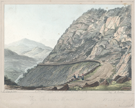 "'Bwlch-y-Groes' from Thomas Compton's ""The Northern Cambrian Mountains"" (1818). Image from the National Library of Wales Landscape Collection /Casgliad Tirlun, by kind permission."