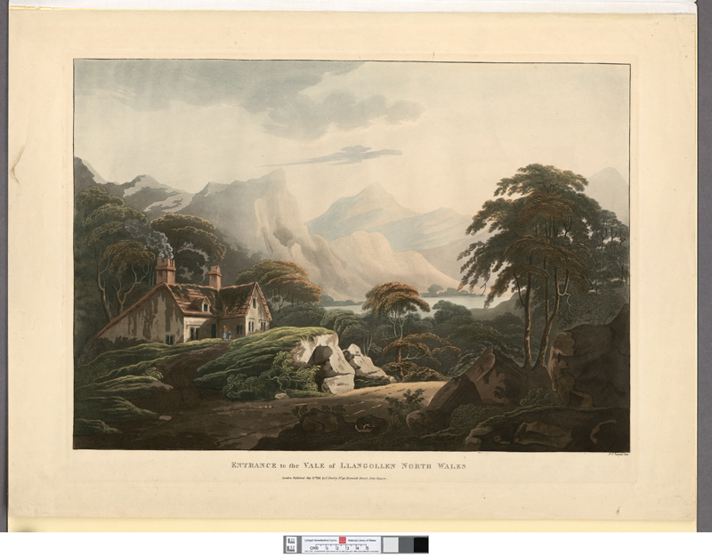 Francis James Sarjent 'Entrance to the Vale of Llangollen, North Wales', aquatint (1811), National Library of Wales