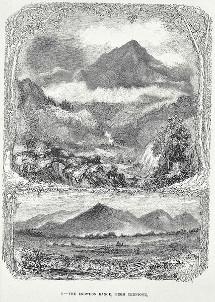 View of the Snowdon range from Cernioge, engraving by Josiah Wood Whymper c1875. From the collections of National Library of Wales.