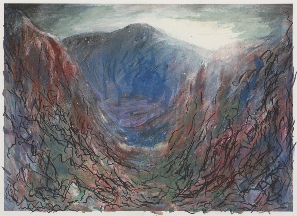 Peter Bishop - Snowdon from Nantlle (2015), mixed media with luminous paint on paper