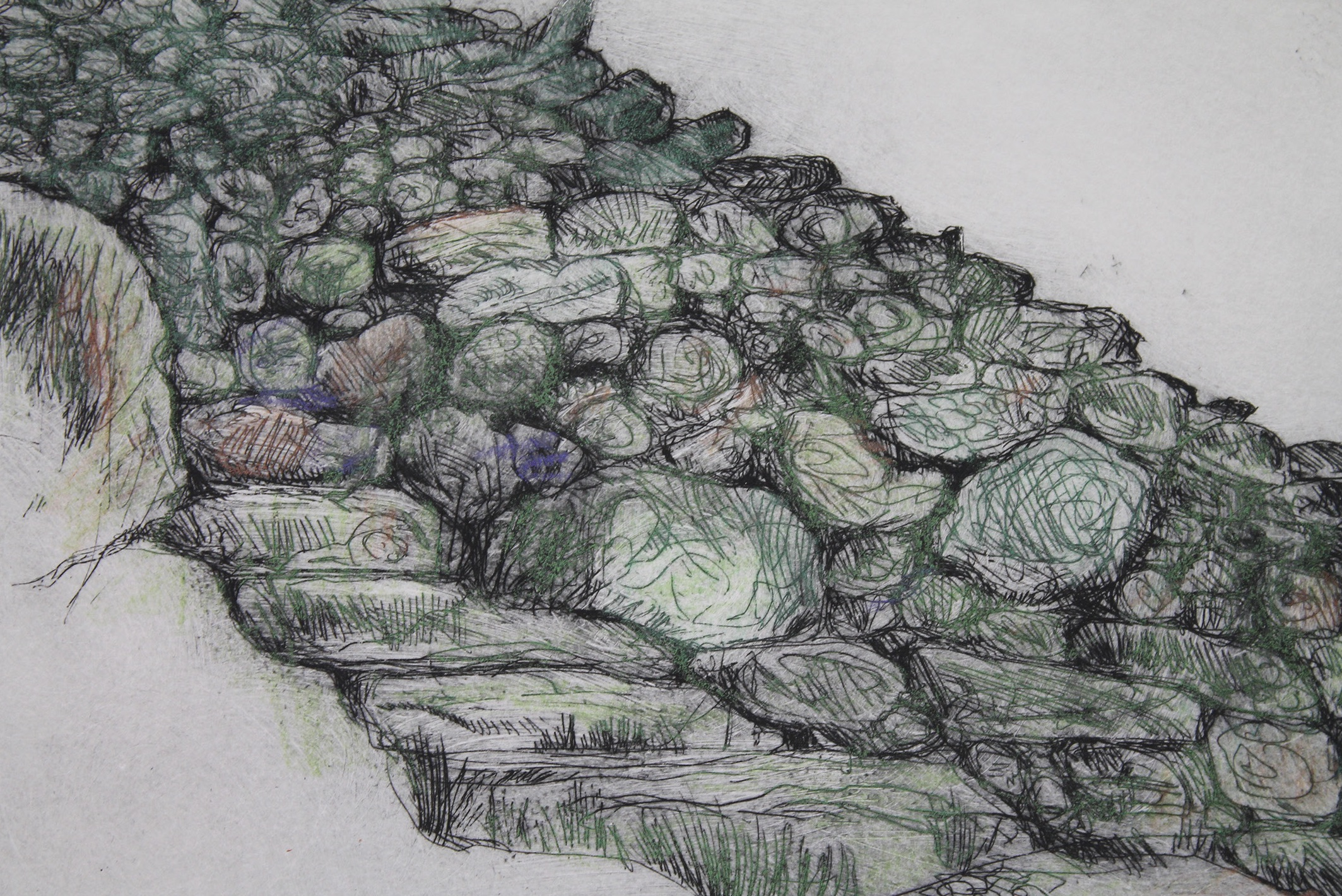 Stuart Evans - Cadair Idris, dry stone wall (2016), etching and hand colouring