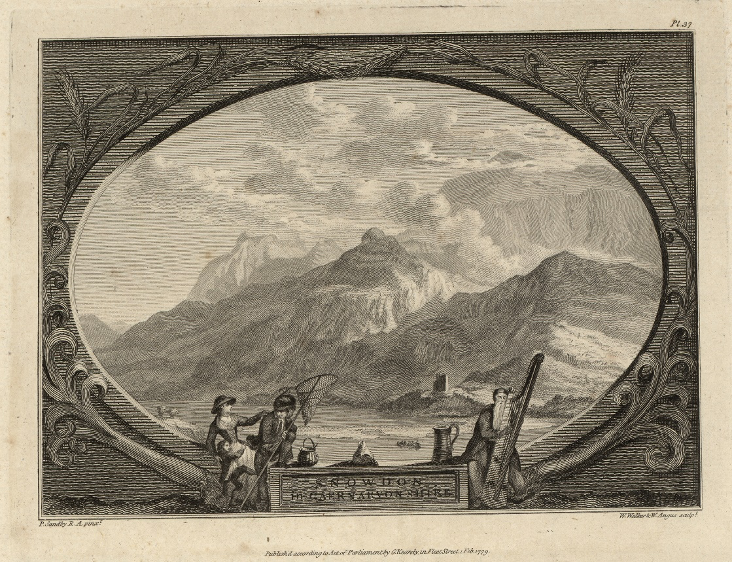 Snowdon from Caernarfonshire by Paul Sandby – a print in Pennant's  Extra-Illustrated Tours of Wales.